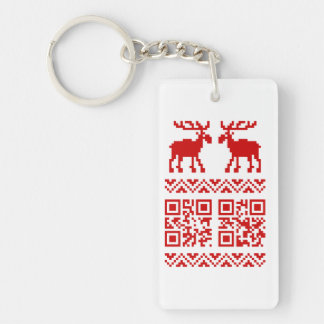 Ugly Christmas Sweater QR Code Happy New Year ! Keychain