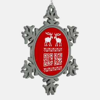 Ugly Christmas Sweater QR Code Happy New Year ! Snowflake Pewter Christmas Ornament