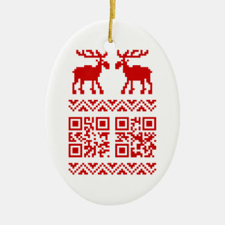 Ugly Christmas Sweater QR Code Happy New Year ! Double-Sided Oval Ceramic Christmas Ornament