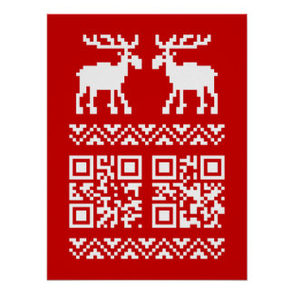Ugly Christmas Sweater QR Code Happy New Year ! Posters