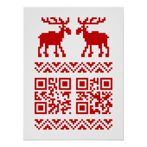 Ugly Christmas Sweater QR Code Happy New Year  Poster