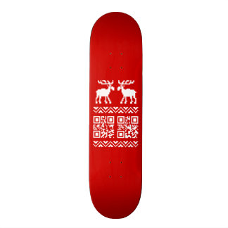 Ugly Christmas Sweater QR Code Happy New Year ! Skateboard
