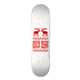 Ugly Christmas Sweater QR Code Happy New Year ! Skateboard Deck