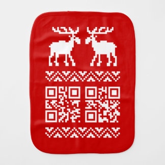 Ugly Christmas Sweater QR Code Happy New Year ! Burp Cloths