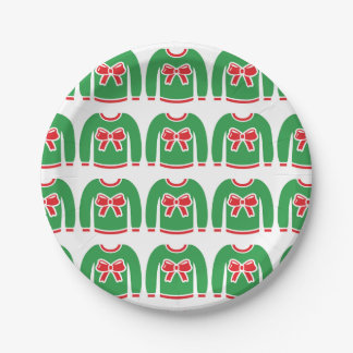 Ugly Christmas Sweater Red Bow Party Holiday Paper Plate