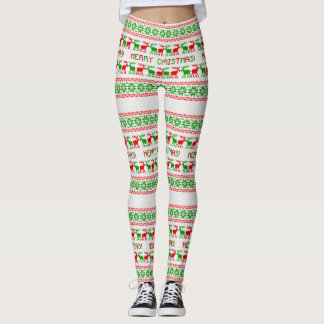 Ugly Christmas Sweater Red Green Deer Leggings