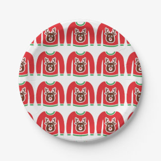 Ugly Christmas Sweater Reindeer Holiday Xmas Party Paper Plate