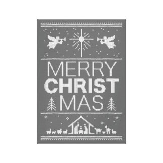Ugly Christmas Sweater Religious Christian Christ Canvas Print