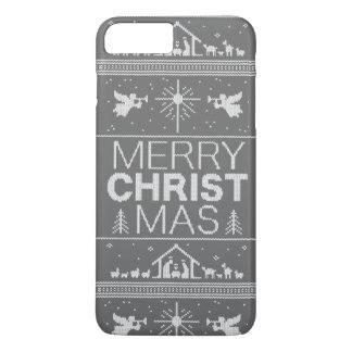 Ugly Christmas Sweater Religious Christian Gray iPhone 7 Plus Case
