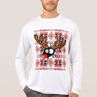 Ugly Christmas Sweater Rudolph busting through T Shirt