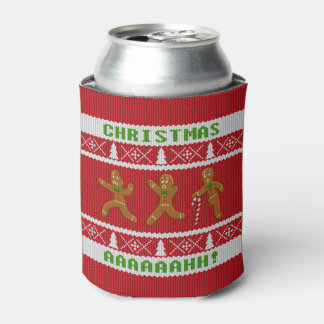 Ugly Christmas Sweater Scared Gingerbread Men Red Can Cooler