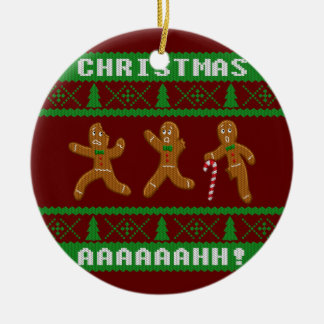 Ugly Christmas Sweater Scared Gingerbread Men Red Ceramic Ornament