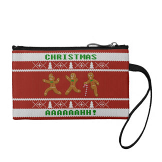 Ugly Christmas Sweater Scared Gingerbread Men Red Coin Purse