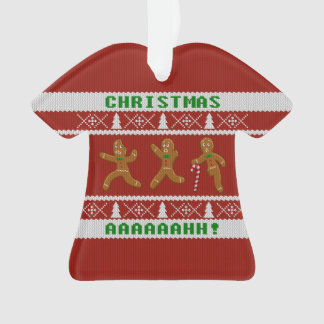 Ugly Christmas Sweater Scared Gingerbread Men Red Ornament