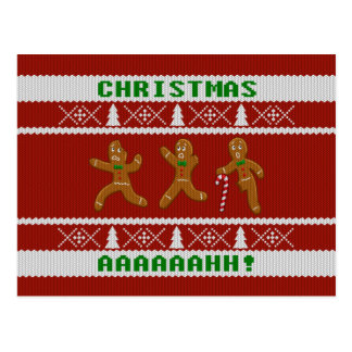 Ugly Christmas Sweater Scared Gingerbread Men Red Postcard