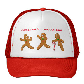 Ugly Christmas Sweater Scared Gingerbread Men Red Trucker Hat