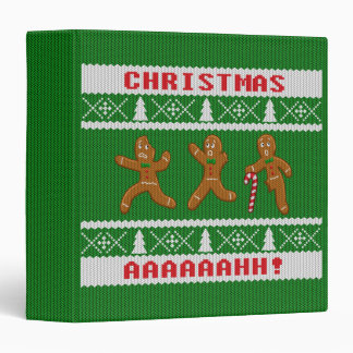 Ugly Christmas Sweater Scared Gingerbreadmen Green 3 Ring Binder