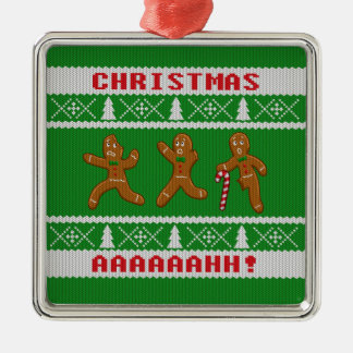 Ugly Christmas Sweater Scared Gingerbreadmen Green Metal Ornament