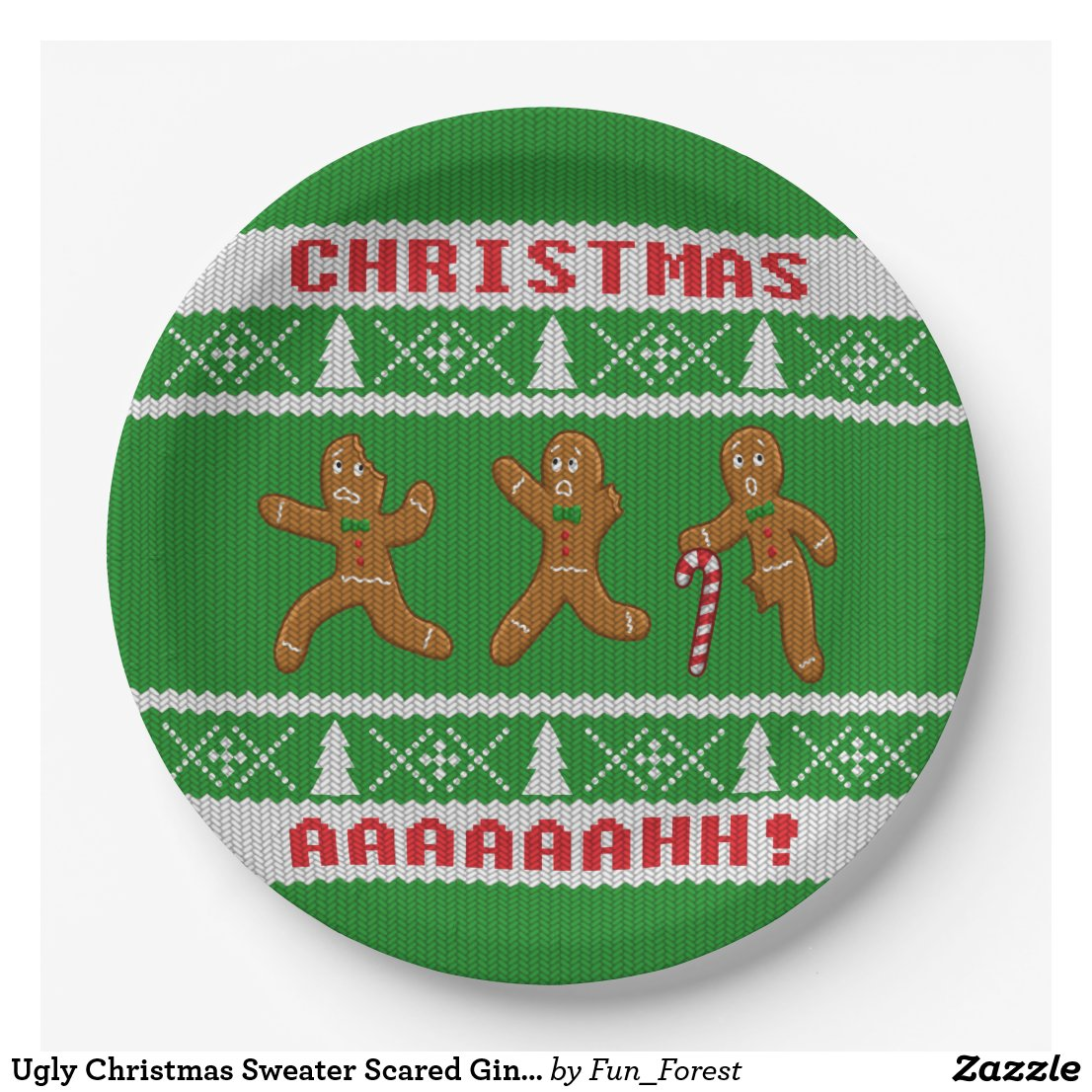 Ugly Christmas Sweater Scared Gingerbreadmen Green Paper Plate