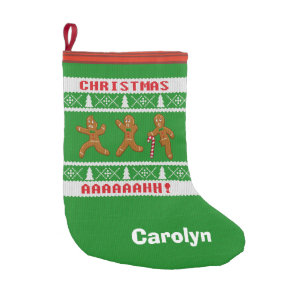 ugly christmas sweater scared gingerbreadmen green small christmas stocking - Christmas Stockings For Men