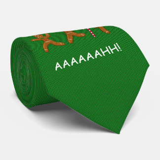 Ugly Christmas Sweater Scared Gingerbreadmen Green Tie