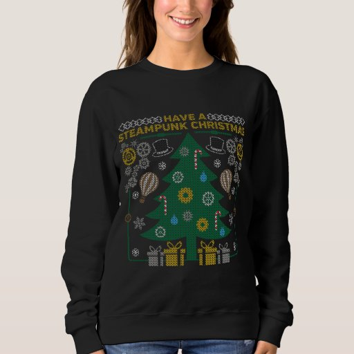 Ugly Christmas Sweater Steampunk Gears Sweatshirt