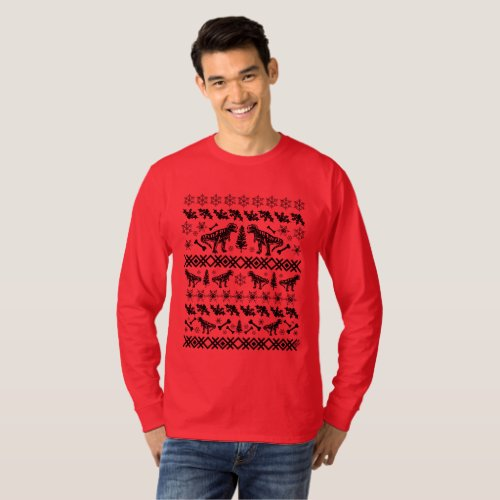 Ugly Christmas Sweater T-Rex - black print After Christmas Sales 3003