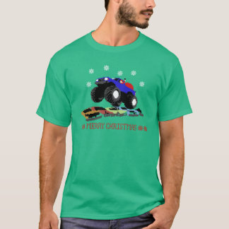 Ugly Christmas Sweater T-shirt-Monster Truck Santa