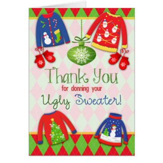 Ugly Christmas Sweater Thank You Card