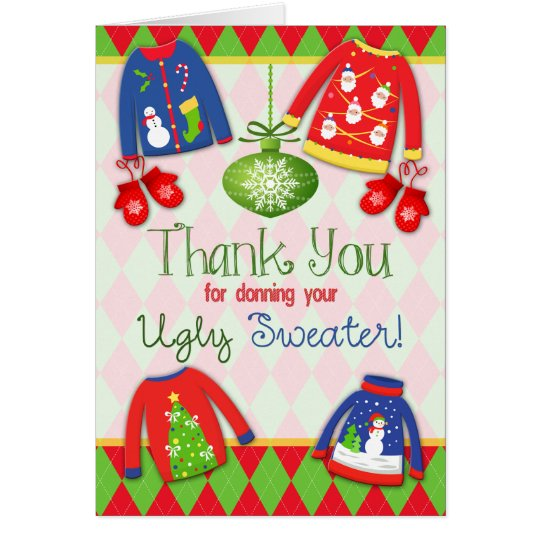 Ugly Christmas Sweater Thank You Card  Zazzle