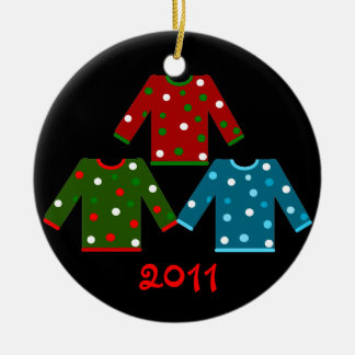 Ugly Christmas Sweater Trio Ceramic Ornament