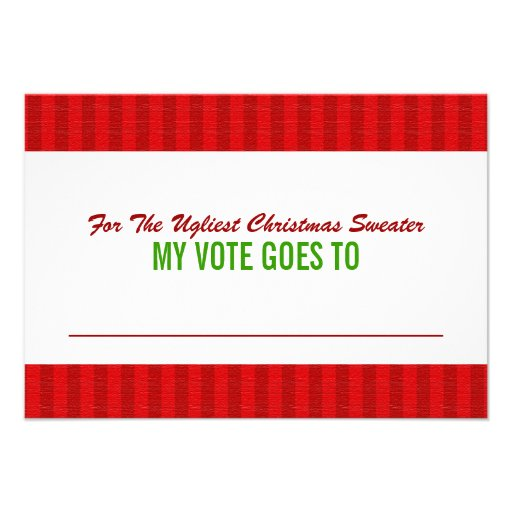 """Ugly Christmas Sweater Voting Ballot Card 3.5"""" X 5"""" Invitation Card ..."""