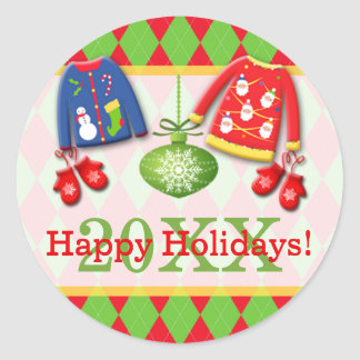 Ugly Christmas Sweaters Happy Holidays Sticker