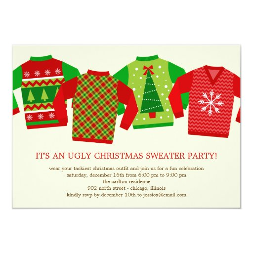 Ugly christmas sweaters holiday party invitation zazzle for Ugly sweater christmas party invitations template