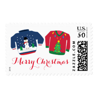 Ugly Christmas Sweaters Invitation Card Stamp