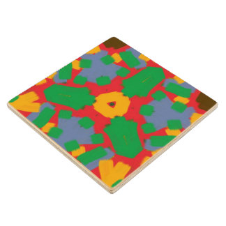 Ugly colorful pattern maple wood coaster