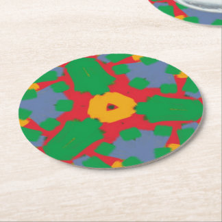 Ugly colorful pattern round paper coaster