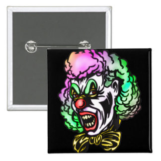 Ugly Evil Clown 2 Inch Square Button