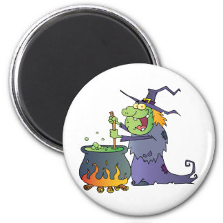 Ugly Halloween Witch Preparing A Potion Fridge Magnets