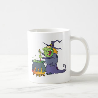 Ugly Halloween Witch Preparing A Potion Coffee Mugs