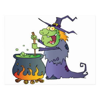Ugly Halloween Witch Preparing A Potion Postcard