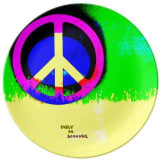 Ugly Is Beautiful: Peace Sign Porcelain Plate