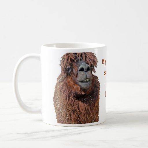 Ugly Llama Isolated On White Mug
