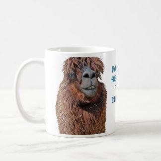 Ugly llama isolated on white coffee mug