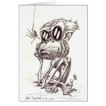 Ugly Monkey with Flower and Bug Greeting Cards