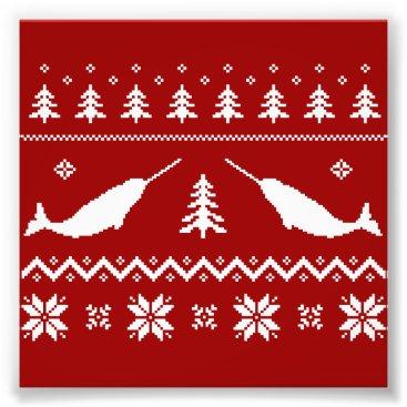 Christmas Themed Ugly Narwhal Christmas Sweater Photo Print
