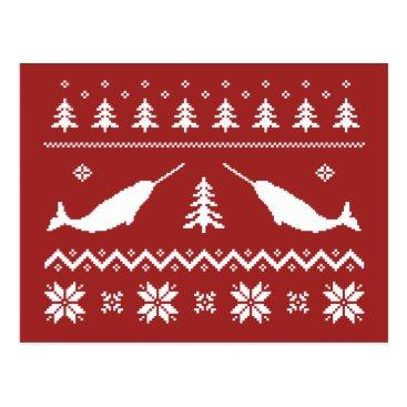 Christmas Themed Ugly Narwhal Christmas Sweater Postcard