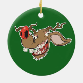 Ugly Reindeer Ceramic Ornament