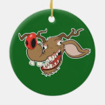 Ugly Reindeer Double-Sided Ceramic Round Christmas Ornament