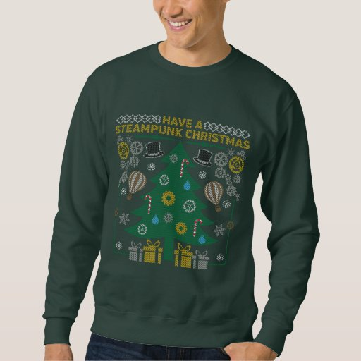 Ugly Steampunk Christmas Sweater Tree Sweatshirt